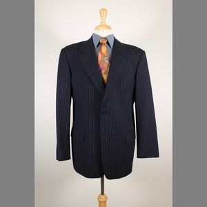 Valentino 44R Navy Two Button Sport Coat Y718